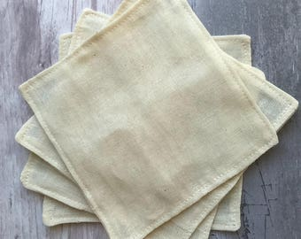 Cleanser Pads - Unbleached Organic Cotton Muslin (Large) - Organic - Face Cloth - Eco - Cleansing