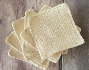 BULK BUY - Cleansing Pads - 8 cm x 8 cm - Make-up Remover Pads - Organic Hemp French Terry Towelling & Organic Cotton Flannel - Washable