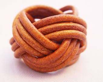 Whiskey braided leather ring