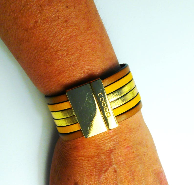 leather cuff cobalt blue and golden yellow with gold magnetic clasp