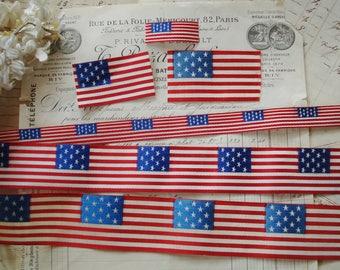 8b485148ff81 Choose One ~ Vintage Petite American Flag 13 Stars Red White Blue Jacquard  Ribbon Applique Patch Patriotic Doll House Dress Miniature Quilt