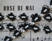 2y Black White French Style Rococo Rosette Flower Ribbon Work Hat Doll Trim Bonnet Dress Victorian Flapper Crazy Quilt Cloche Boudoir