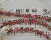 18 quot Vintage French Ombre Raspberry Pink Olive Green Rococo Rosette Flower Ribbon Doll Bonnet Dress Trim Flapper Hat Edwardian Crazy Quilt