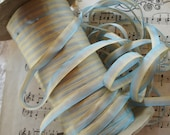 2y Vintage French 3 8 quot Ombre Duck Blue Pale Gold Ribbonwork Trim Ribbon Flowers Pansy Bebe Doll Dress Hat Edwardian Flapper Boudoir Trim