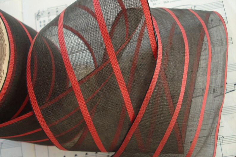 1y Antique German 3 58 Red Black Sheer Organza Stripe Millinery Ribbon Trim Downton Abbey Flapper Hat Bow Dress Edwardian Cloche