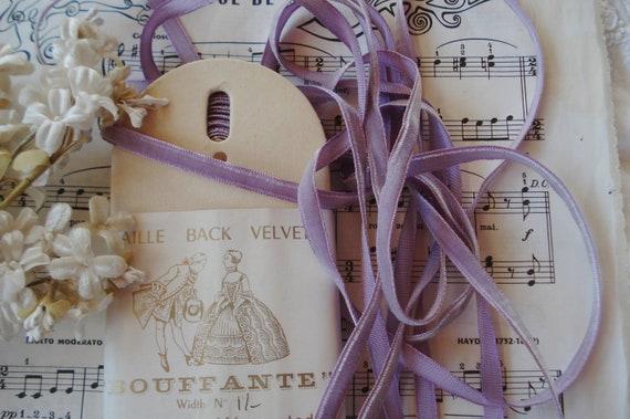 "1 Yard vintage grey velvet 1/"" rayon ribbon Millinery hat doll Germany"