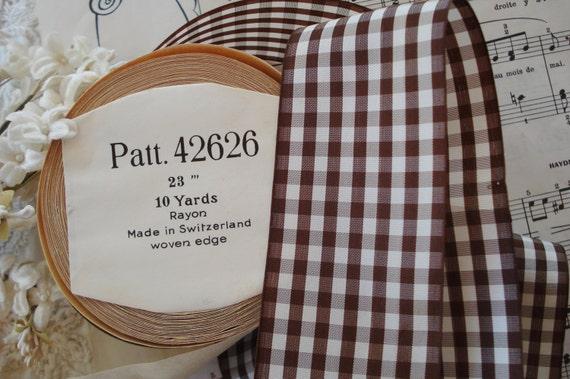 1y Vintage Swiss 2 Brown White Rayon Plaid Gingham Check  d91de1e898b5