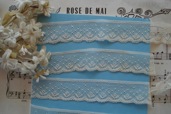 """7//8/"""" Baby Blue Scalloped Lace Soft Hand 50 Yard Bolt"""