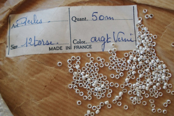 LOT ANTIQUE VTG FRENCH SILVER METAL STAMPED SEED CRIMP BEADS PARTS PURSE JEWELRY