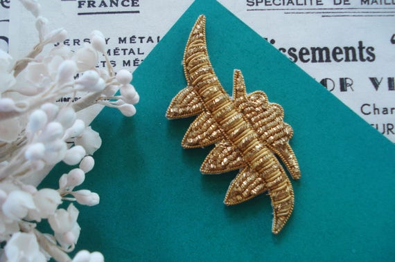 Edwardian applique French metal and Chenille with metallic ribbon rosette 1900 to 1910