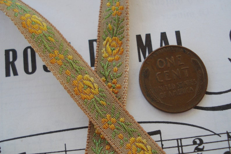 1y Vintage French 38 Ombre Yellow Orange Taupe Brown Roses Floral Embroidered Jacquard Ribbon Trim Antique Doll Bebe Brocade Crazy Quilt
