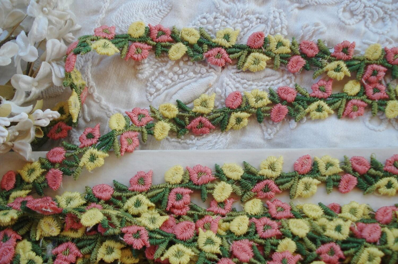 12y BOLT VTG JACQUARD FLOWER TRIM PINK BEIGE SCALLOP FRINGE RIBBON HAT FRENCH