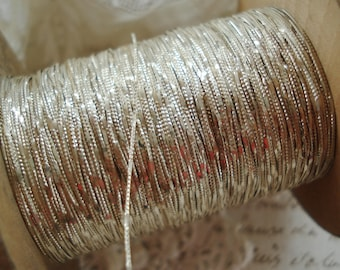 3y Antique Early French Fancy Silver Metal Plate Embossed Metallic Embroidery Couching Sewing Thread Ribbonwork Trim Steampunk Ribbon Lace