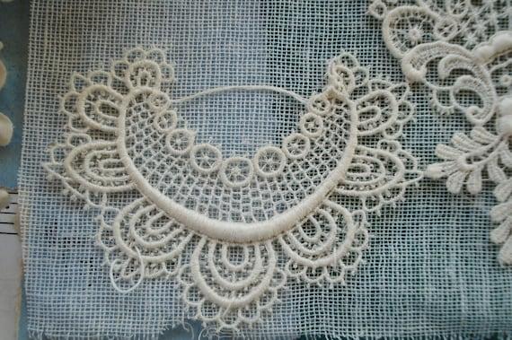 Français anciens dentelle coton fleuri brodé clapet Schiffli Venise clapet brodé Applique ruban Edwardian robe corsage victorien robe Vintage 37cbbb