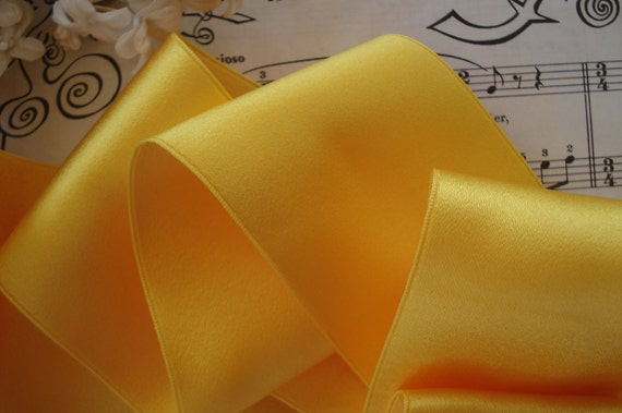 """2-3//4/"""" WIDE SWISS DOUBLE FACE SATIN RIBBON MARIGOLD YELLOW"""
