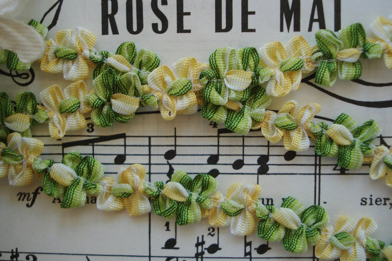 1y Vintage French Ombre Green Yellow Floral Rococo Rosette Ribbon Work Flower Hat Doll Trim Scrapbook Flapper Embellishment France