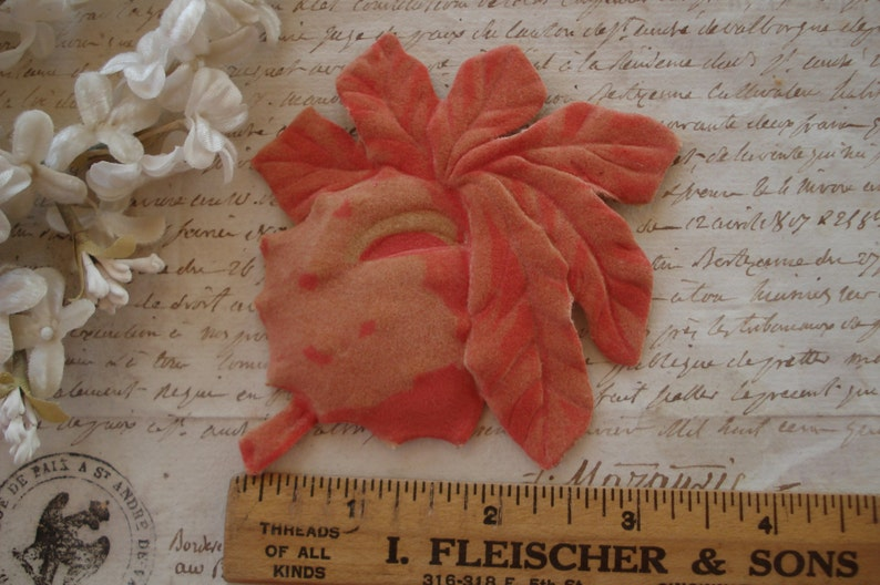 Vintage German Flocked Molded Coral Rust Corl Tropical Fruit Millinery  Flower Pad Ladies Hat Cloche Flapper French Edwardian Corsage Trim