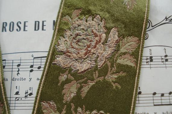 ANTIQUE FRENCH ROSE GOLD METALLIC THREAD PEONY GREEN JACQUARD RIBBON TRIM HAT