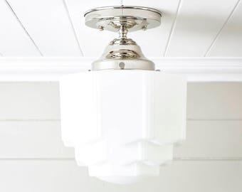 Art Art Deco Flush Mount Ceiling Light Fixture w Original Green Shade