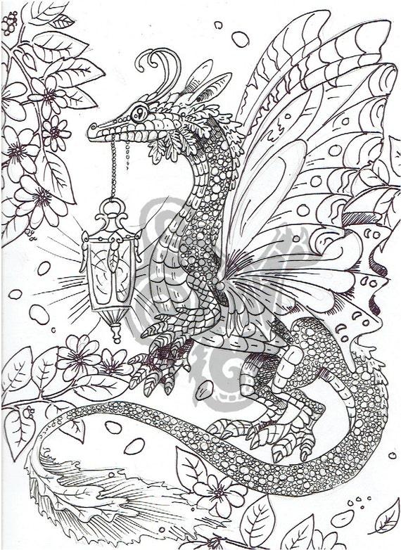 Digital Coloring Page Dragon In The Garden Etsy