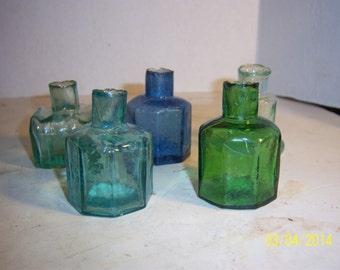 1890's  Lot of  5  English Burst Lip Aqua, Cobalt Blue Yellow Green Ink Bottles Inkwells 2 1/4 inches