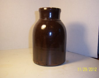 1880's Brown Stoneware Jar 7 1/4 inches tall