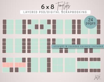 6 x 8 SJABLONEN voor digitale Scrapbooking