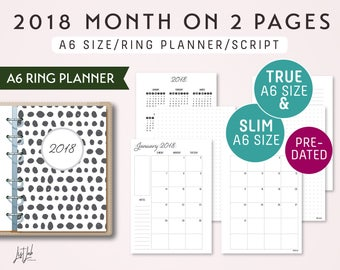 A6 Size Ring Planner Insert - 2018 Month on 2 Pages Calendar Style - Printable PDF [ON SALE]