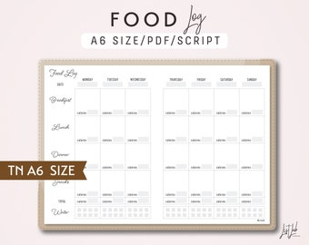 A6 TN Food Log - Traveler's Notebook Printable Insert PDF - Script Theme