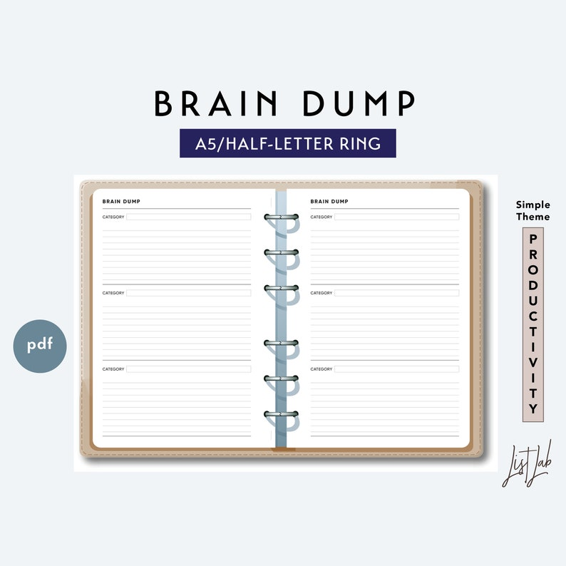 picture relating to Brain Dump Printable identify A5 and 50 percent-Letter Mind DUMP - Printable Ring Planner Add - Very simple Topic