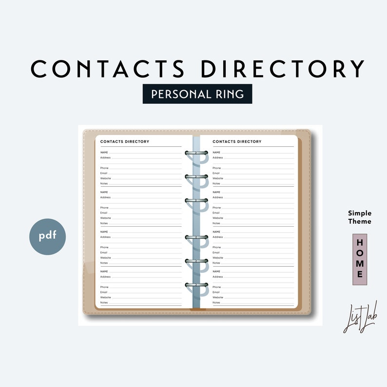 photo about Printable Directory named Individual Measurement CONTACTS Listing - Printable Ring Planner Increase pdf - Uncomplicated Topic