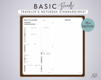 STANDARD Size Traveler's Notebook BASIC BUNDLE - Printable Insert - Neat Theme - 15+ sheets