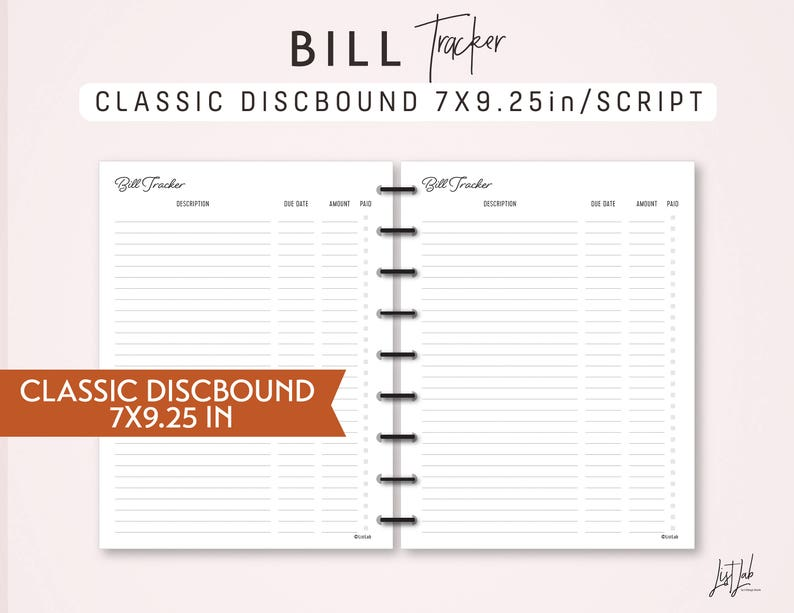 photograph relating to Discbound Planner Printables named Conventional DISCBOUND Invoice Tracker - Printable Discbound Planner Incorporate (7 X9.25in just) - Script Concept - satisfies Clic Joyful Planner