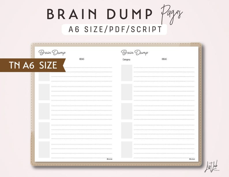 image relating to Brain Dump Printable identified as TN Head Dump A6 Sizing - Holidaymakers Laptop Printable Include PDF - Script Concept