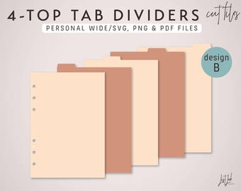 4-TOP TAB Dividers for Personal Wide Size Planner – Die Cutting Files (Design B) - svg, png, pdf