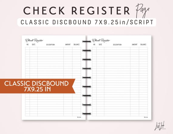 classic discbound check register printable discbound planner etsy