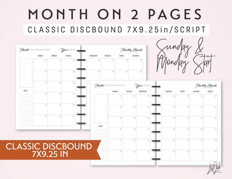 graphic relating to Discbound Planner Printables named Traditional DISCBOUND Thirty day period upon 2 Webpages Calendar Fastened - Printable Discbound Planner Increase (7X9.25inside) - Script Concept - suits Clic Joyful Planner