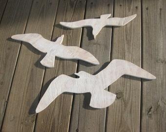 Seagulls beach decor sea birds wood wall art cottage coastal distressed shabby chic