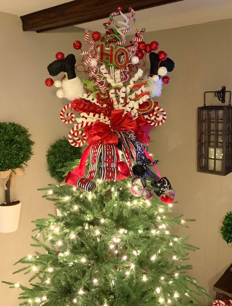 Christmas Tree Topper Santa Christmas Tree Topper Elf Leg Christmas Tree Topper Christmas Tree Decor