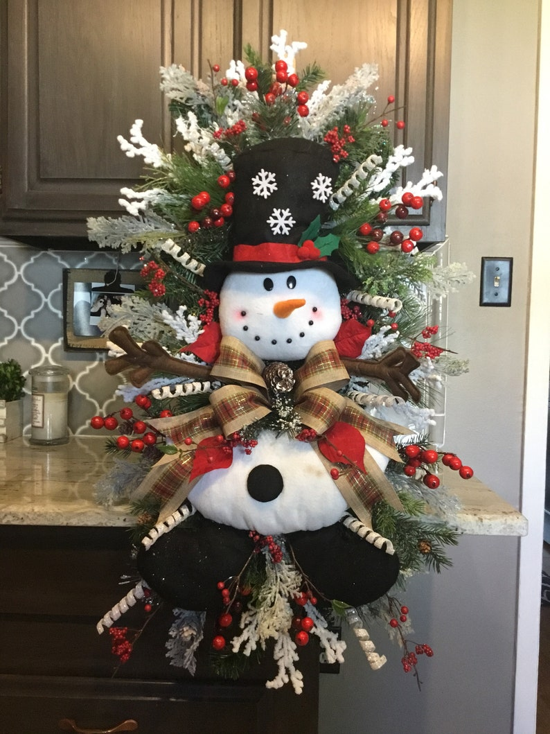 Snowman Swag, Snowman Wreath, Christmas Wreath, Christmas Door Wreath, Door  Decor, Christmas Decor