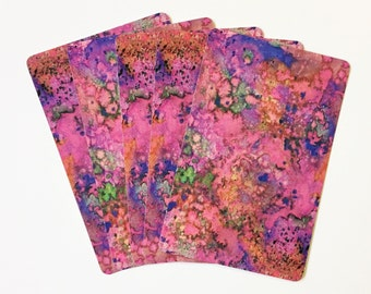 Playing Card Swap - Pink Purple and Orange Abstract - Vintage - Set of 6