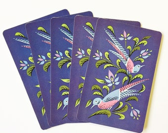 Playing Card Swap - Blue Purple with Pretty Birds - Vintage - Set of 6
