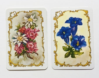 Mini Playing Card Swap - Floral - 2 Designs - Set of 6