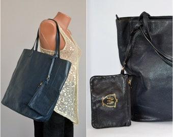 2b92a82d1c BLUE Leather MASSIMO DUTTI Purse Handbag Genuine Leather Handbag Big  Classic Shoulder Women Italy Bag
