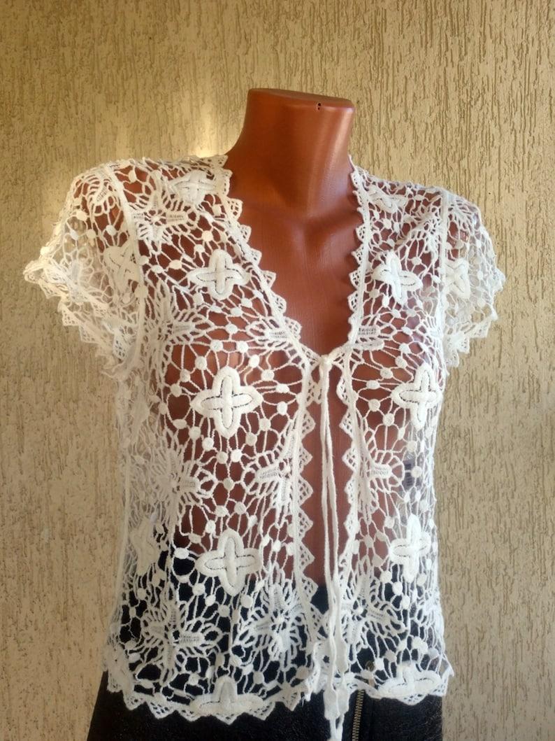 Crochet White Bralette Vintage Boho Top Wrap Fishnet Knit Hip Sleeveless Top size  M 36 38 EU