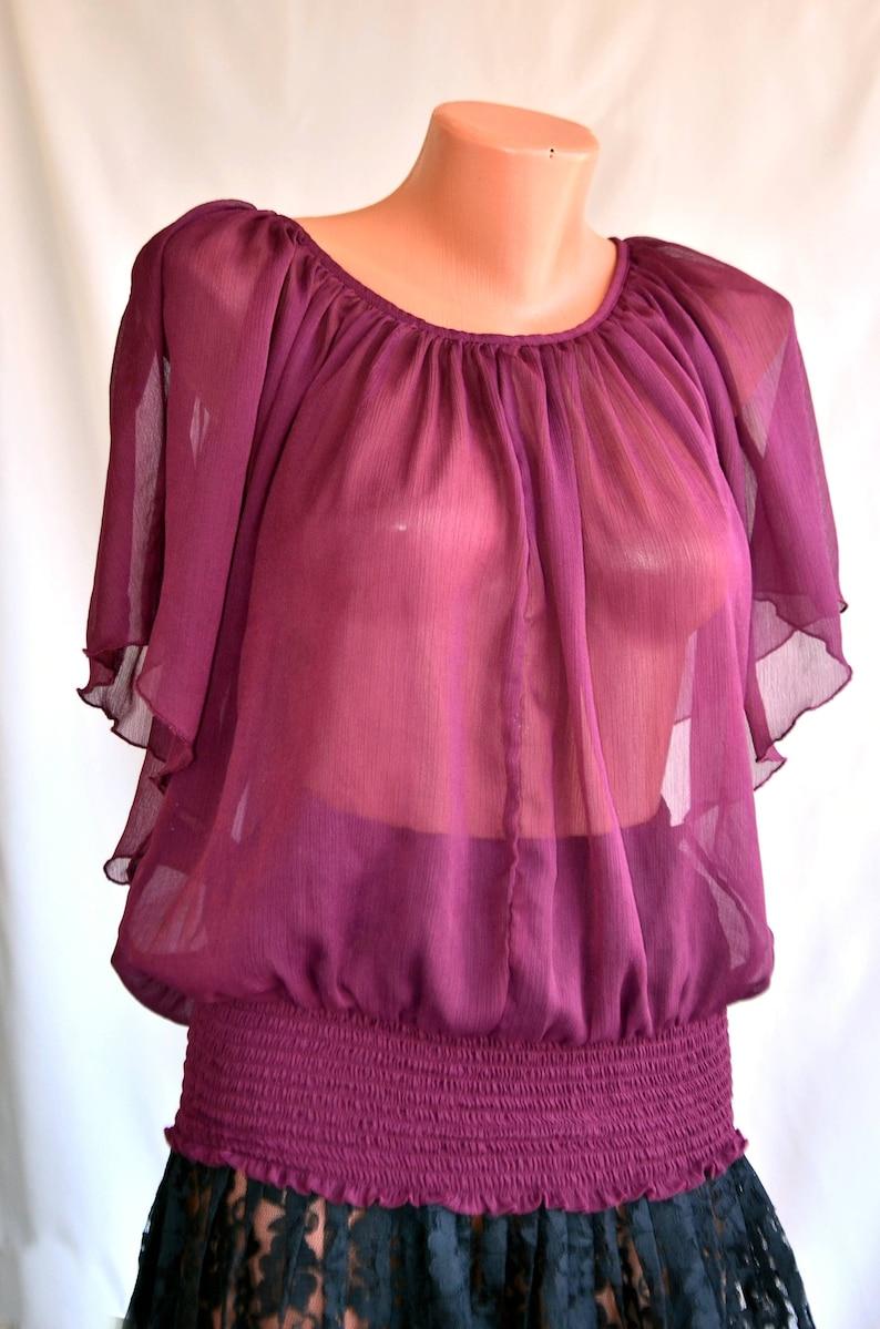 Purple Organza Vintage EXCELLENT Top size S M 38 40 Lace Boho BLOUSE Bat Sleeve