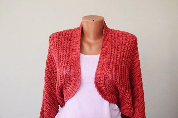 Crop Women Cardigan Knitted Short Vest size L XL Pink Crochet Midriff Knitwear Red Sleeves