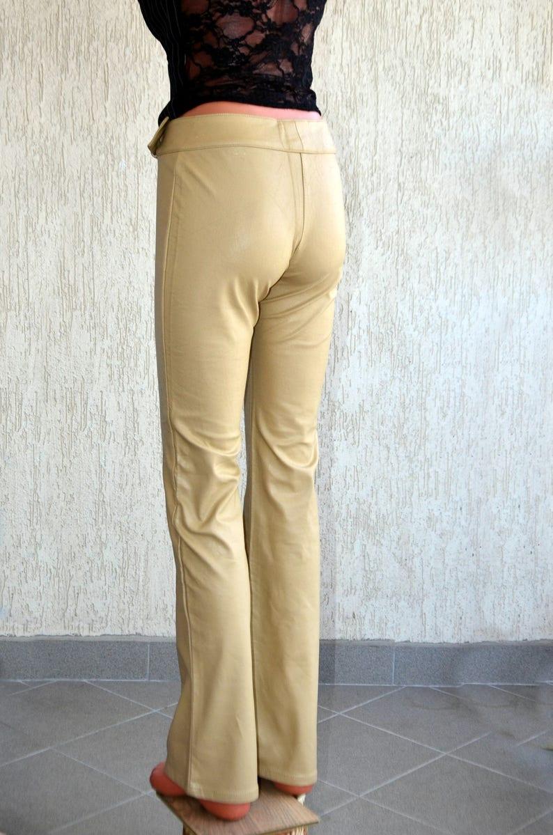 Vinyl Vintage Miss SIXTY Leather Pants XS S W 27 L 34 Faux Beige Trousers High Waist Casual Wear Stretch Pants