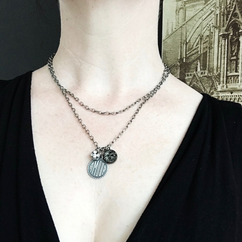 love story necklace | antique button | french word jewelry | sustainable  design | gift idea: friend woman anniversary love amour valentines
