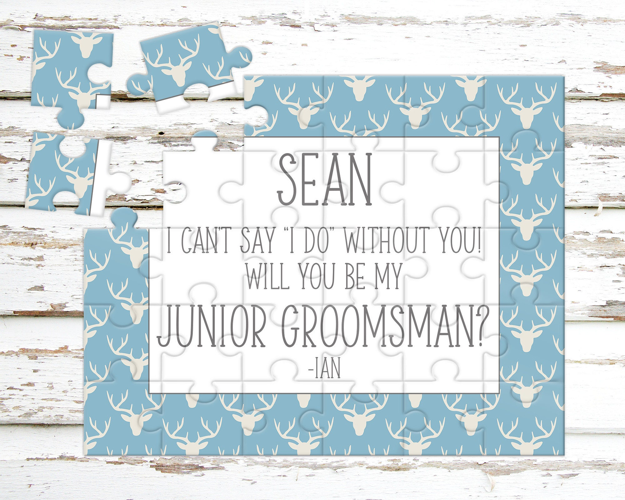 Puzzle Proposal Personalized Junior Groomsman Puzzle Asking Junior Groomsman Wedding Announcement P1197